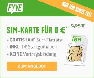 Kostenlose FYVE Prepaid SIM Karte