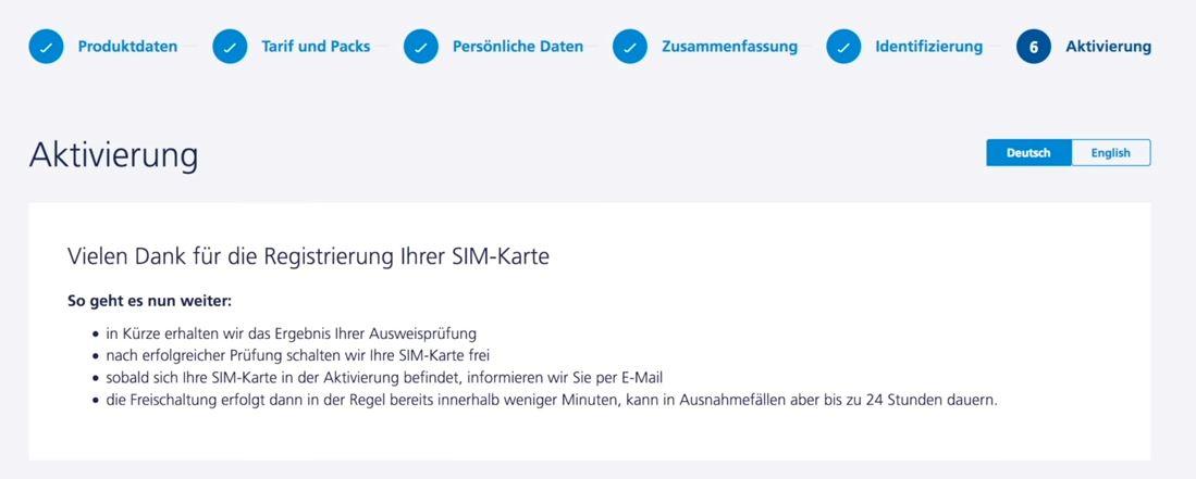 o2 SIM Karten Aktivierung erfolgreich abgeschlossen